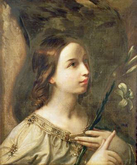 Guido Reni of Bologna, Italy - Angel of the Annunciation, Landesmuseum, Oldenburg, Germany, 1620.