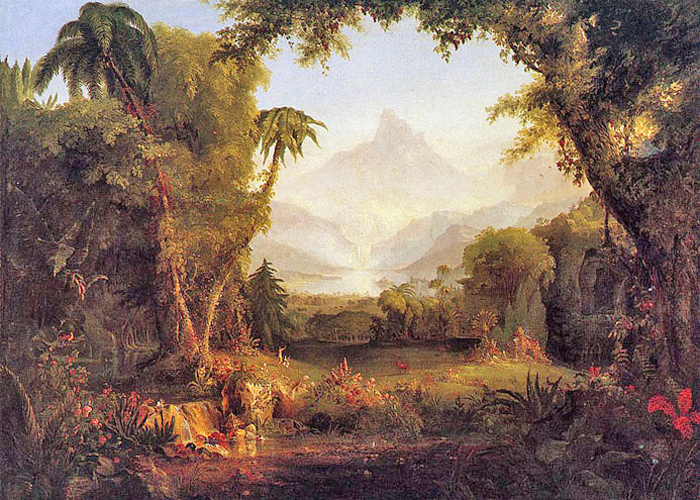 Thomas Cole - The Garden of Eden (the summit of Purgatorio), Hudson River, New York, 1828.
