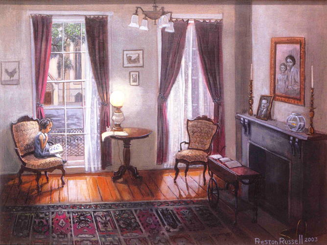 Preston Russell - Interior of Flannery O'Connor Home with a view of Lafayette Square and the Cathedral of St. John the Baptist, Savannah, Georgia; Courtesy of Preston Russell MD.