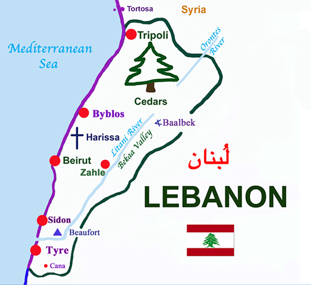 Lebanon is situated on the Eastern shore of the Mediterranean Sea.  The coastal border of Phoenicia (in purple) extended northwards beyond the present boundary of Lebanon; cities in purple were present during Phoenician times.