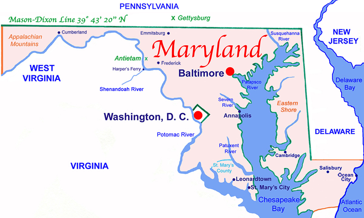 Maryland In Us Map - Us map mason dixon line