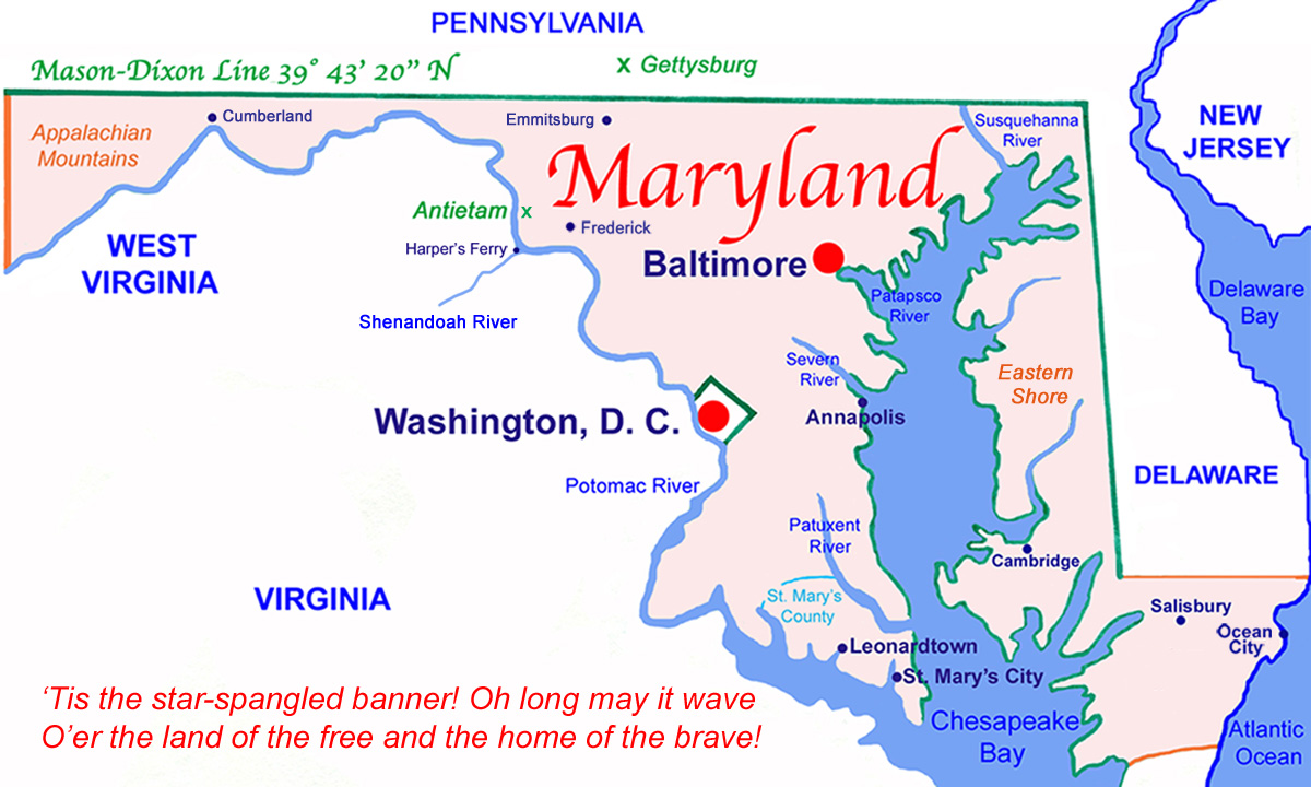 Maryland State Map after the 1763-1767 Mason-Dixon Line: LMH, 2012.