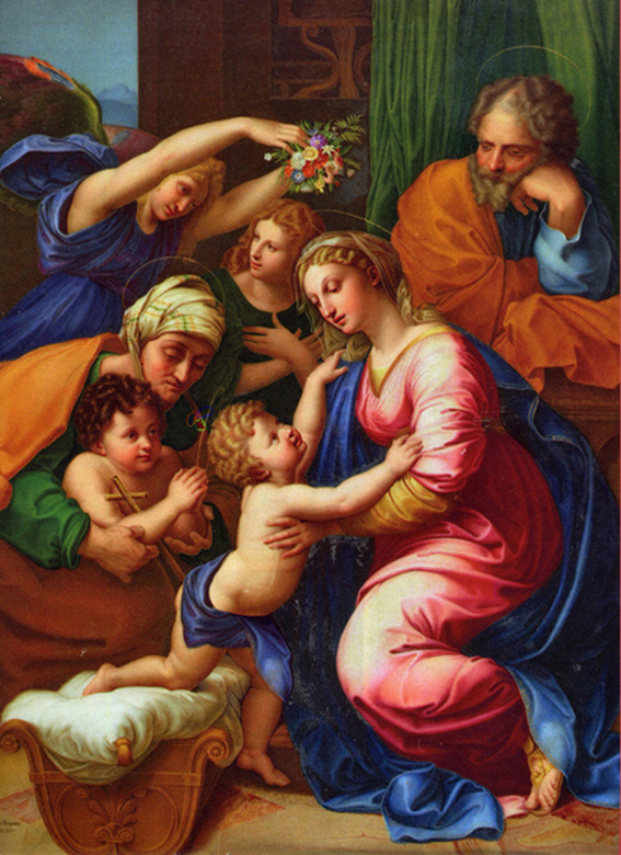 Raphael Sanzio of Urbino, Italy - The Holy Family, with St. Elizabeth, John the Baptist, and two angels, The Louvre, Paris, 1618.
